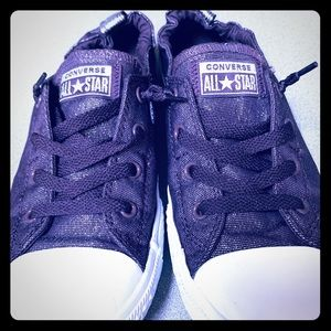 Converse Shoes - Dark purple sparkly converse